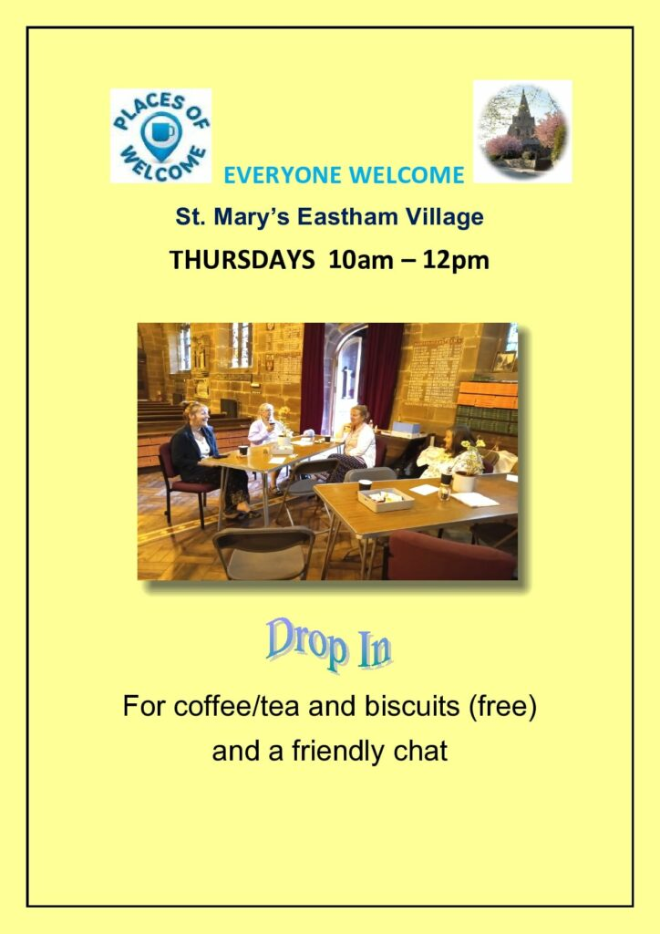 Places of Welcome, each week in the Parish Church between 10am and 12 noon.